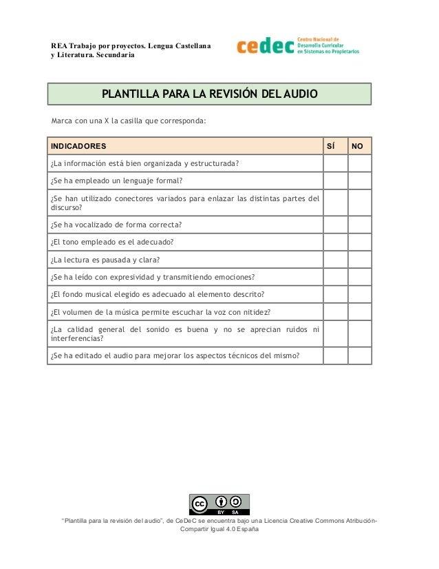 REA Trabajo por proyectos. Lengua Castellana y Literatura. Secundaria PLANTILLA PARA LA REVISIÓN DEL AUDIO Marca con una X...