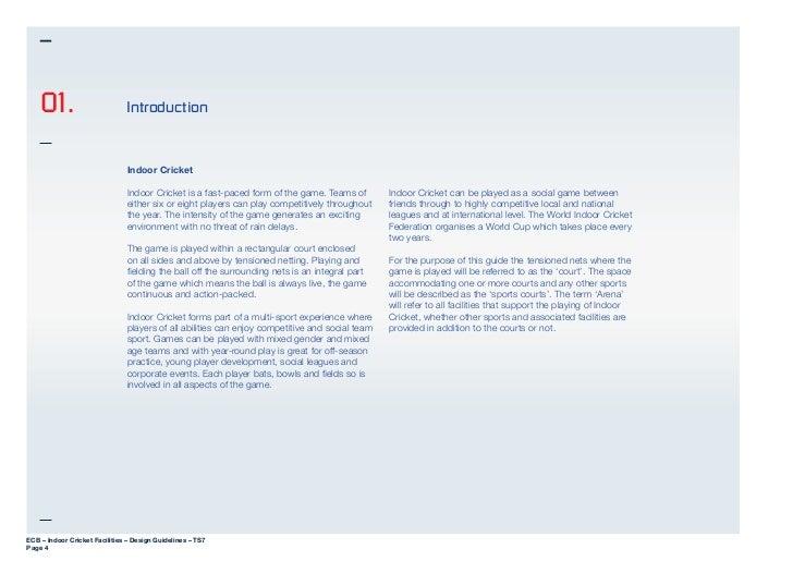 Ts7 indoor cricket facilities design guidelines for Indoor design criteria