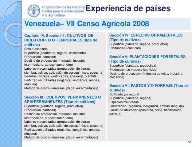 Experiencia de países Venezuela– VII Censo Agrícola 2008 Capitulo IV, Sección II : CULTIVOS DE CICLO CORTO O TEMPORALES (t...