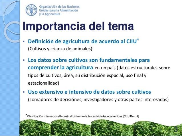  Definición de agricultura de acuerdo al CIIU* (Cultivos y crianza de animales).  Los datos sobre cultivos son fundament...