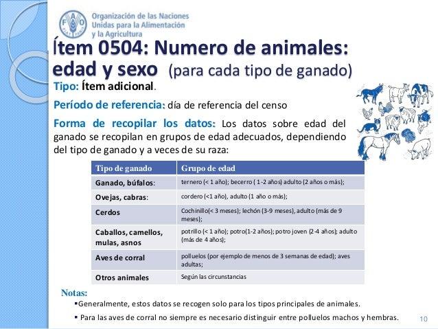 Ítem 0504: Numero de animales: edad y sexo (para cada tipo de ganado) Tipo: Ítem adicional. Período de referencia: día de ...