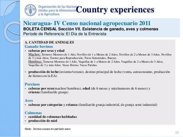 Country experiences A. CANTIDAD DE ANIMALES Ganado bovinos  cabezas por sexo y edad Machos: Terneros Menores de 1 Año, No...