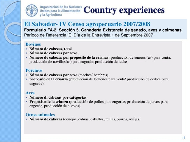 Country experiences Bovinos  Número de cabezas, total  Número de cabezas por sexo  Numero de cabezas por propósito de l...