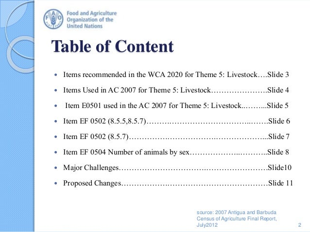 Table of Content  Items recommended in the WCA 2020 for Theme 5: Livestock….Slide 3  Items Used in AC 2007 for Theme 5: ...