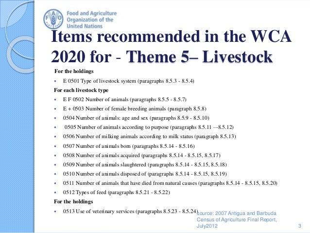 Items recommended in the WCA 2020 for - Theme 5– Livestock For the holdings  E 0501 Type of livestock system (paragraphs ...