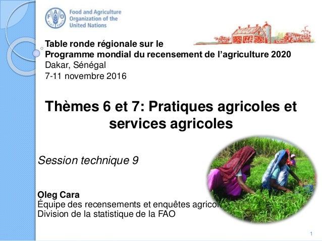 Table ronde régionale sur le Programme mondial du recensement de l'agriculture 2020 Dakar, Sénégal 7-11 novembre 2016 Thèm...
