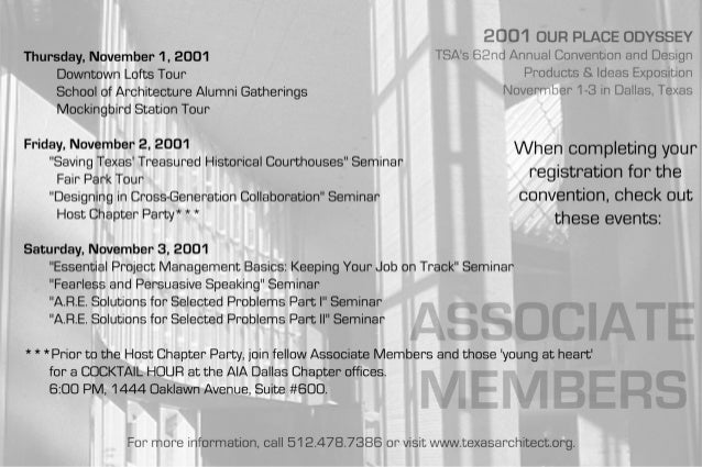 2001 OUR PLACE ODYSSEY  Thursday,  November 1, 2001 TSA's 82nd Annual Convention and Design Downtown Lofts Tour Products &...