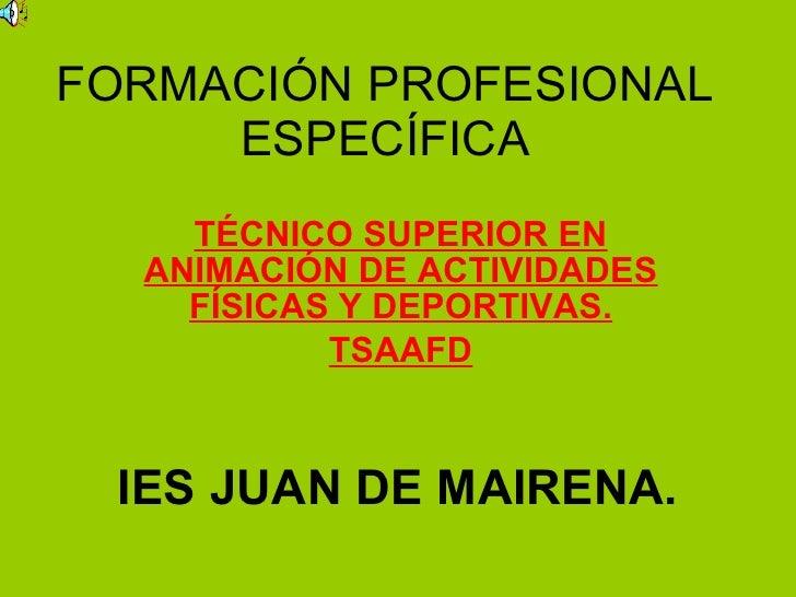 FORMACIÓN PROFESIONAL ESPECÍFICA TÉCNICO SUPERIOR EN ANIMACIÓN DE ACTIVIDADES FÍSICAS Y DEPORTIVAS. TSAAFD IES JUAN DE MAI...