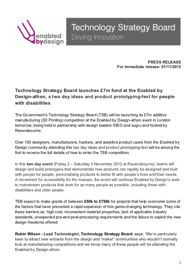 PRESS RELEASE                                                            For immediate release: 01/11/2012   Technol...