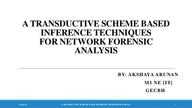 A TRANSDUCTIVE SCHEME BASED INFERENCE TECHNIQUES FOR NETWORK FORENSIC ANALYSIS BY: AKSHAYA ARUNAN M1 NE [IT] GECBH 22-Jul-...