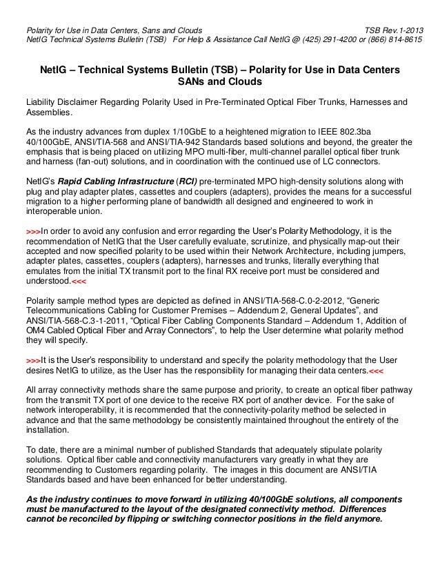TSB Polarity for Data Centers rev.1 2013