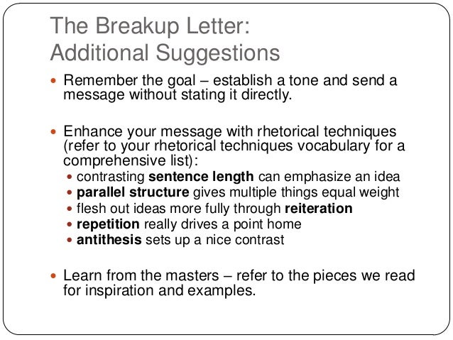 Breakup letter the breakup letteradditional suggestions remember the goal establish a tone and send expocarfo Images