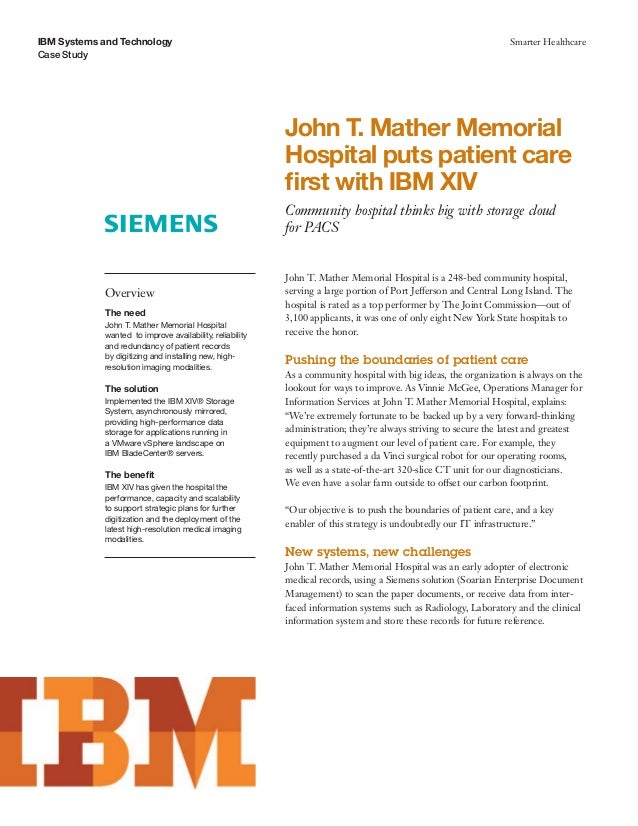 John T. Mather Memorial Hospital puts patient care first with IBM XIV