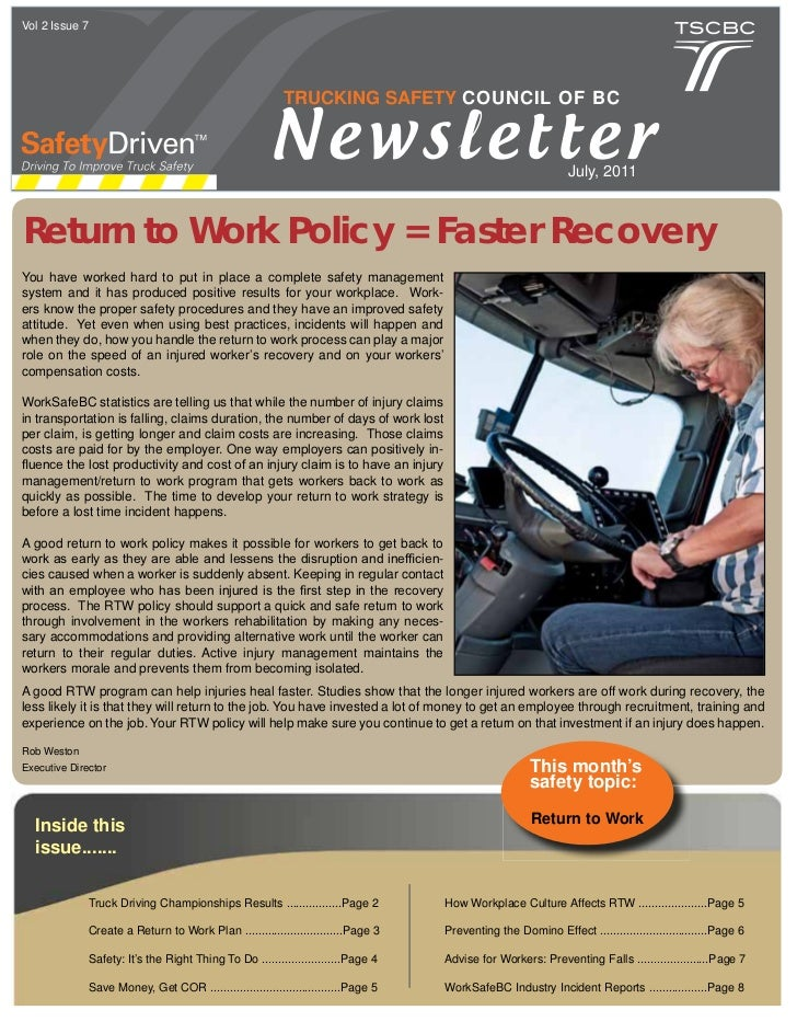 Vol 2 Issue 7                                                          TRUCKING SAFETY COUNCIL OF BC                      ...