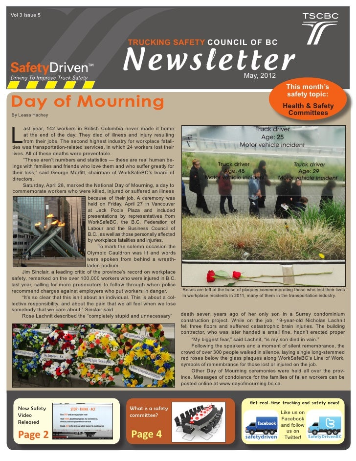 trucking-safety-council-of-bc-may-2012-newsletter-1-728 Safety Committee Newsletter Template on minutes taking, arch bright, meeting schedule, meeting free, agenda form, accident investigation, commitment forms, meeting notes,