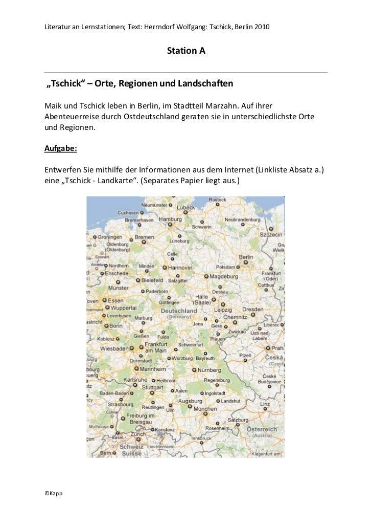Literatur an Lernstationen; Text: Herrndorf Wolfgang: Tschick, Berlin 2010                                        Station ...
