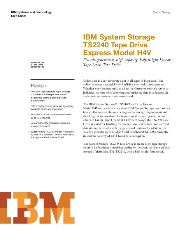 IBM System Storage Tape DriveExpress Model H4V