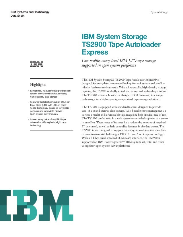 IBM System Storage TS2900 Tape Autoloader Express