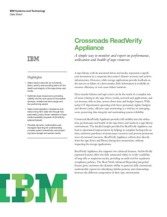 IBM Systems and TechnologyData Sheet                                                                   Crossroads ReadVeri...