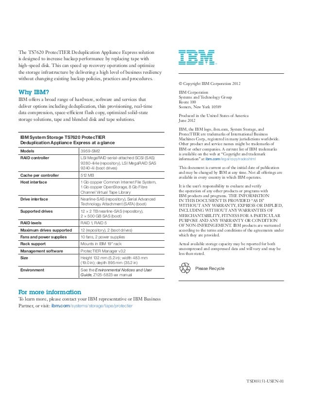 IBM TS7620 ProtecTIER Deduplication Appliance Express
