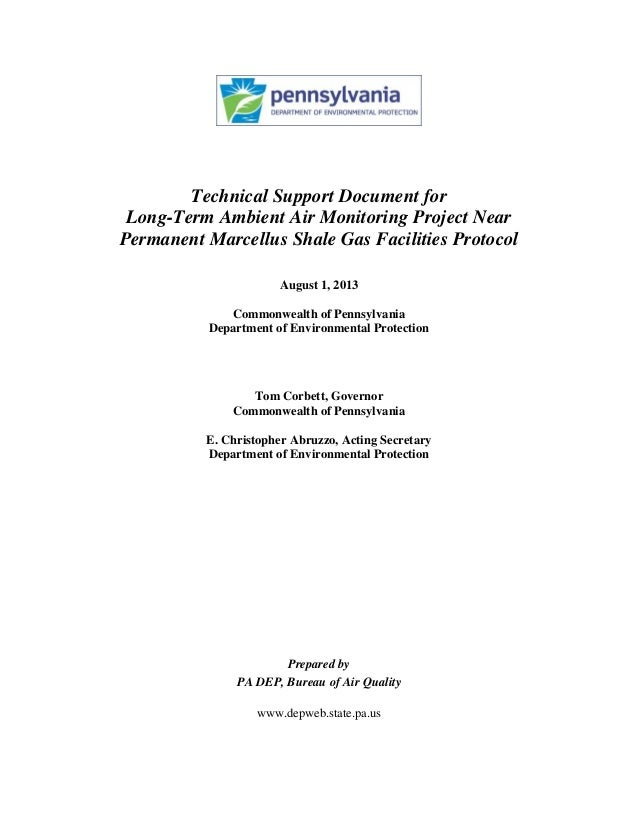 Technical Support Document for Long-Term Ambient Air Monitoring Project Near Permanent Marcellus Shale Gas Facilities Prot...