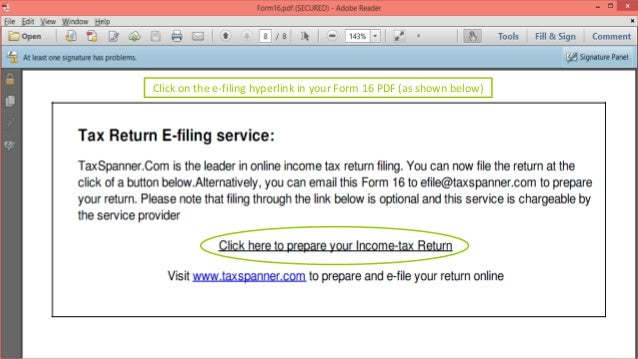 Click on the e-filing hyperlink in your Form 16 PDF (as shown below)