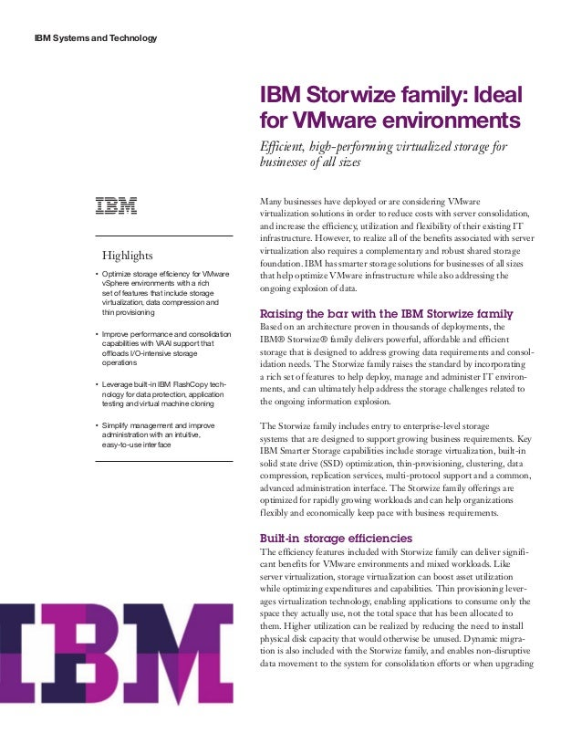 IBM Storwize family: Ideal for VMware environments