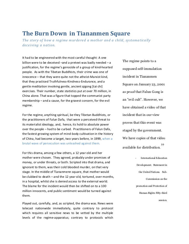 The Burn Down in Tiananmen SquareThe story of how a regime murdered a mother and a child, systematicallydeceiving a nation...