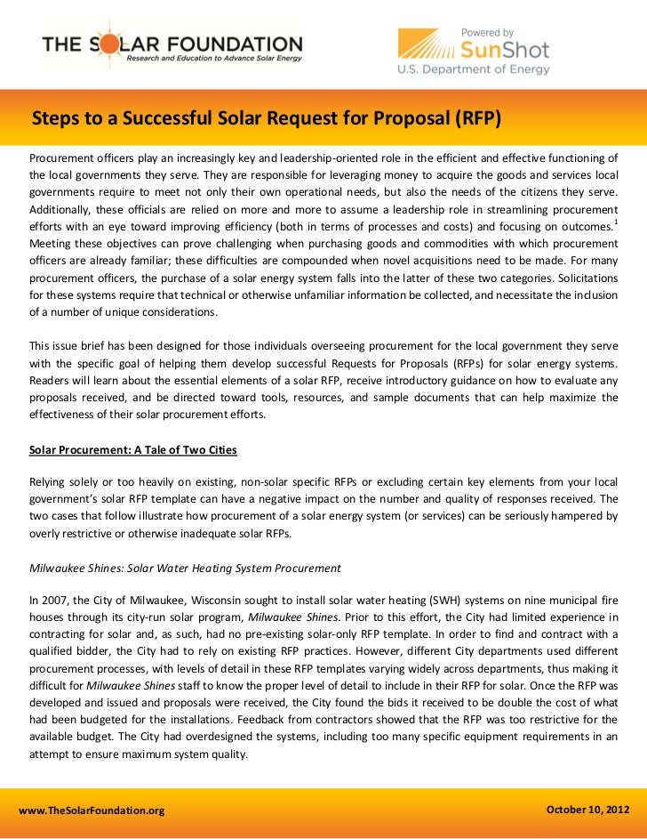 Steps to a Successful Solar Request for Proposal (RFP) Procurement officers play an increasingly key and leadership-orient...