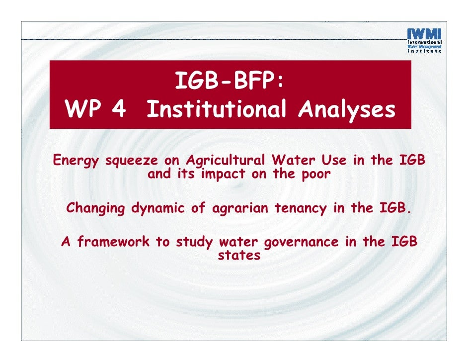 IGB-BFP:  WP 4 Institutional Analyses  Energy squeeze on Agricultural Water Use in the IGB              and its impact on ...