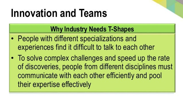Innovation and Teams Why Industry Needs T-Shapes • People with different specializations and experiences find it difficult...