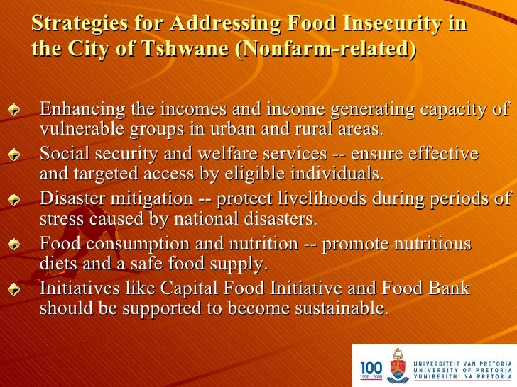 Strategies for Addressing Food Insecurity in the City of Tshwane (Nonfarm-related)  Enhancing the incomes and income gener...