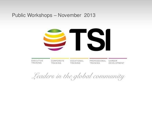 Public Workshops – November 2013