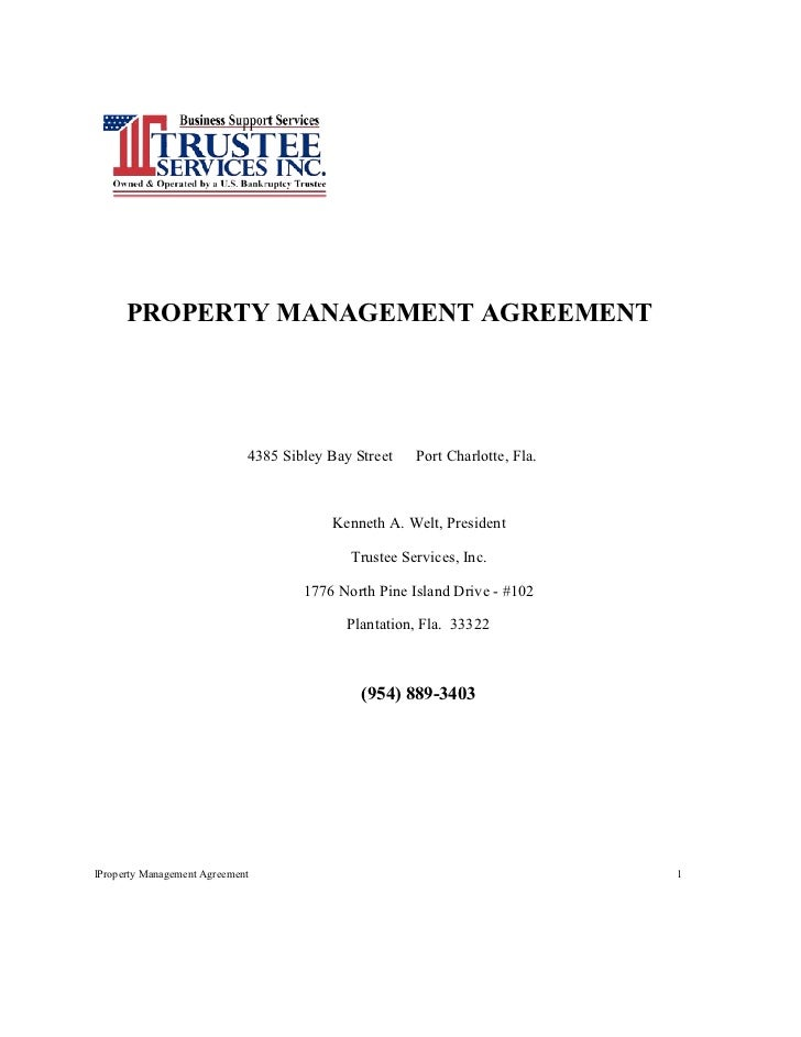 PROPERTY MANAGEMENT AGREEMENT                             4385 Sibley Bay Street   Port Charlotte, Fla.                   ...
