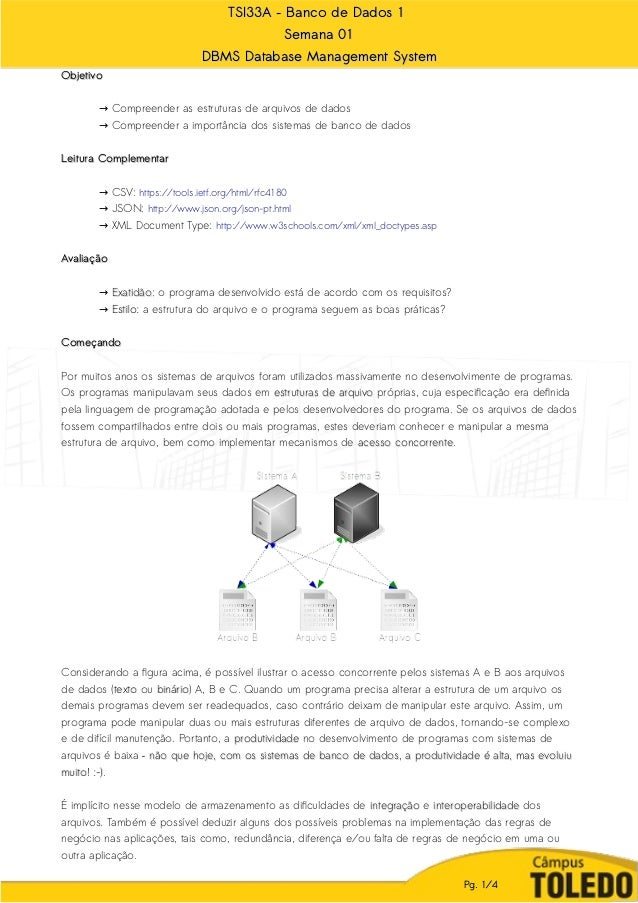 TSI33A – Banco de Dados 1TSI33A – Banco de Dados 1 Semana 01Semana 01 DBMS Database Management SystemDBMS Database Managem...