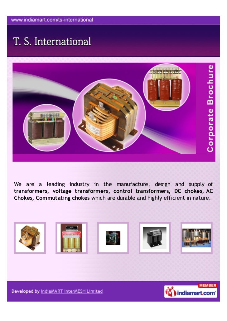 T  S  International, Bengaluru, Transformers, Reactors And