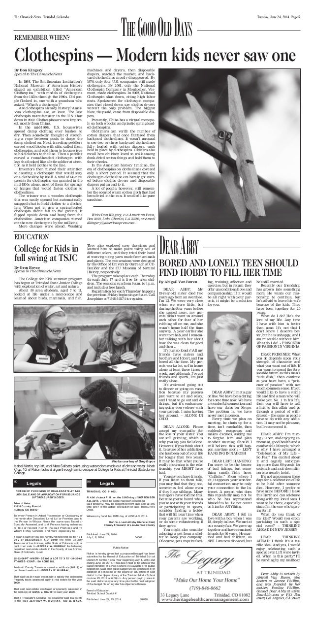 Tuesday, June 24, 2014 Page 5The Chronicle-News Trinidad, Colorado 90 LegalLegals 90 LegalLegals NOTICE OF PURCHASE OF REA...