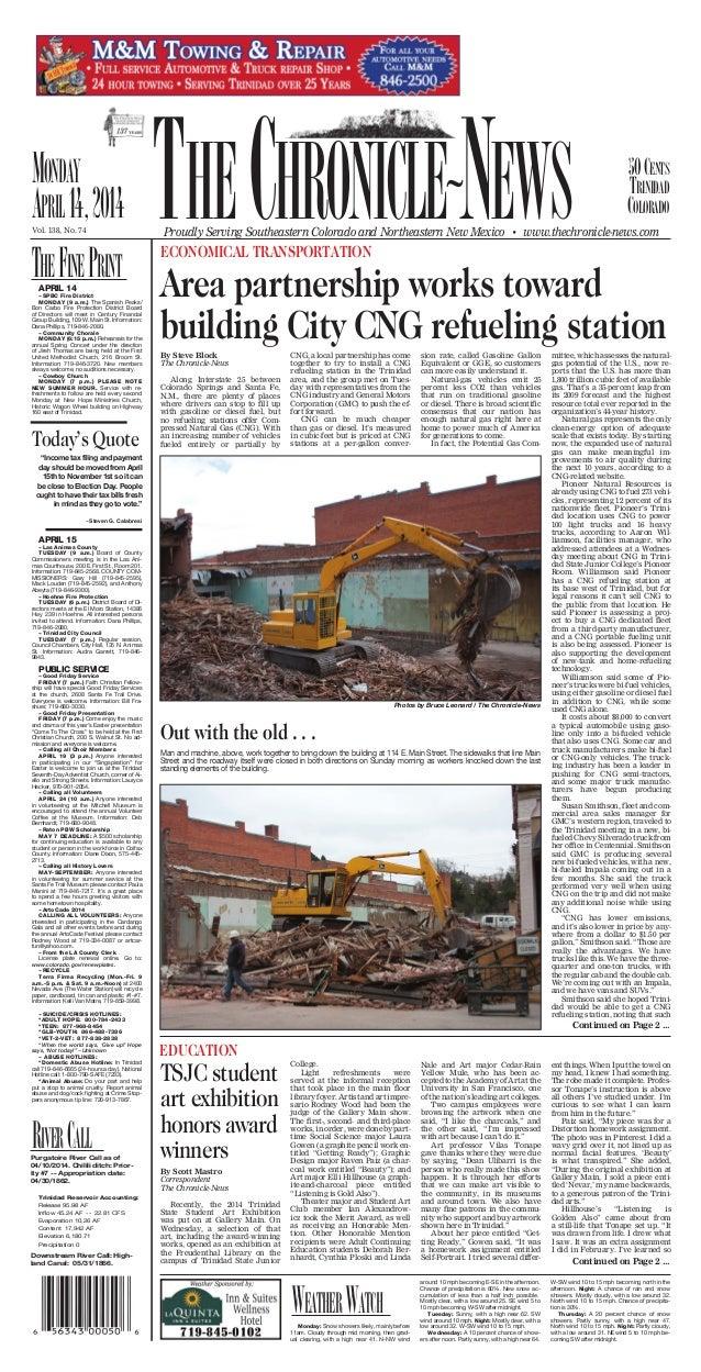 50Cents trinidad Colorado ~ Vol. 138, No. 74 Monday april14,2014 APRIL 14 ~SPBC Fire District MONDAY (9 a.m.) The Spanish ...