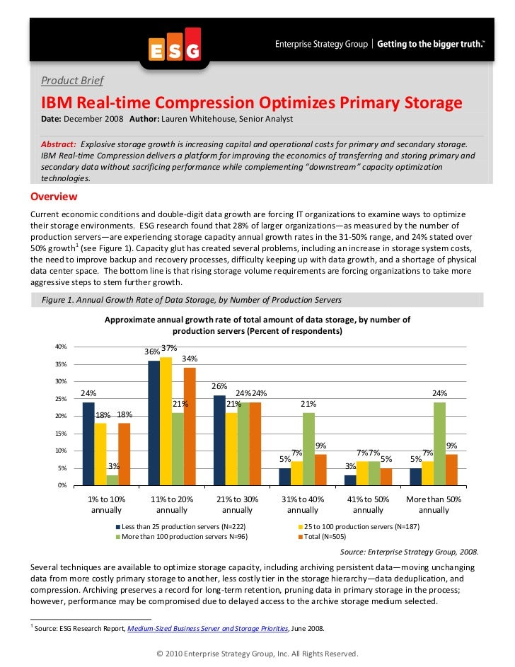 Product Brief     IBM Real-time Compression Optimizes Primary Storage     Date: December 2008 Author: Lauren Whitehouse, S...