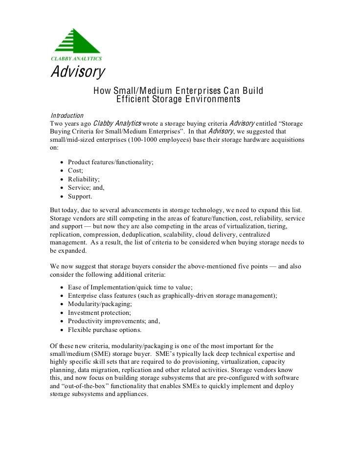 Advisory                How Small/M edium E nterprises C an Build                     E fficient Storage E nvironmentsIntr...