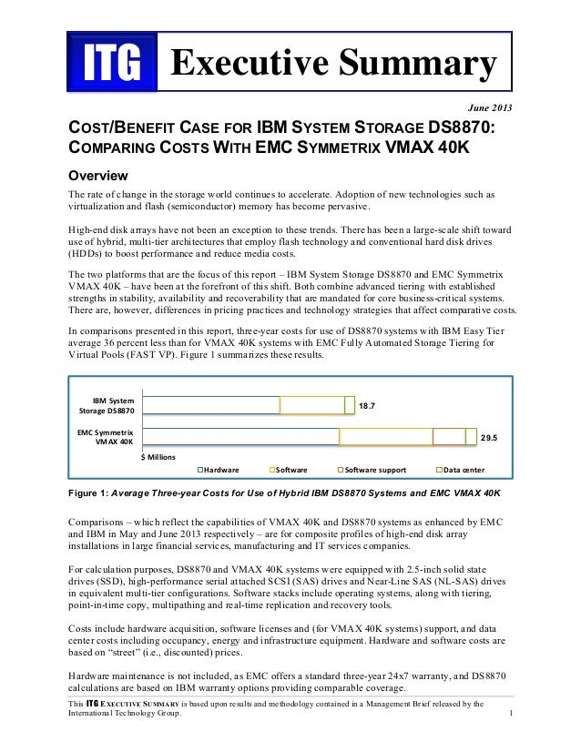 Cost/Benefit Case For IBM System Storage DS8870: Comparing Costs With EMC Symmetrix VMAX 40K