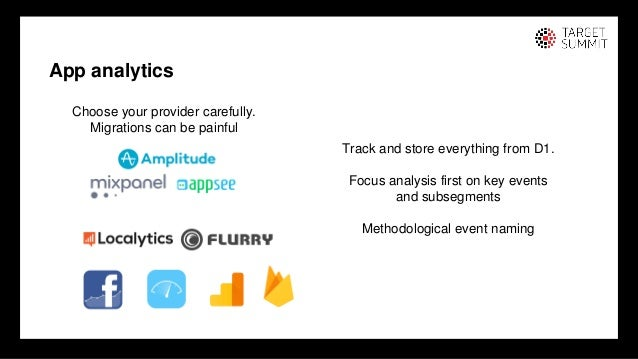 11 11 App analytics Choose your provider carefully. Migrations can be painful Track and store everything from D1. Focus an...