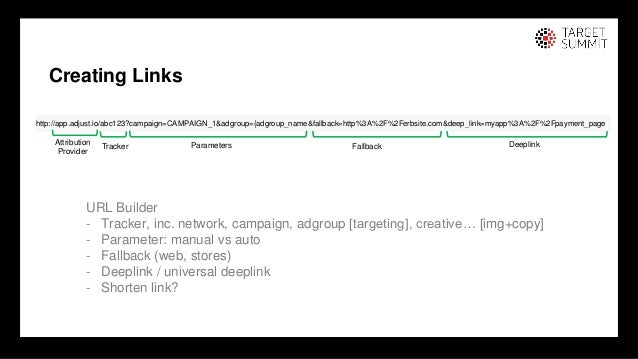 12 12 Creating Links URL Builder - Tracker, inc. network, campaign, adgroup [targeting], creative… [img+copy] - Parameter:...