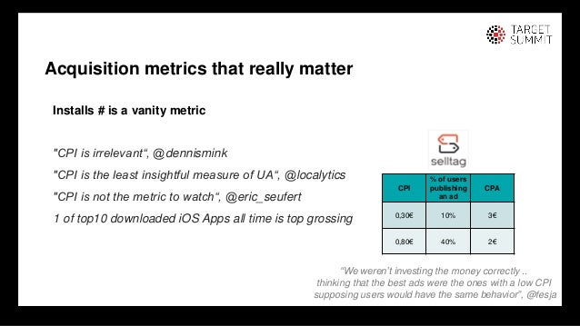 """16 16 Installs # is a vanity metric """"CPI is irrelevant"""", @dennismink """"CPI is the least insightful measure of UA"""", @localyt..."""