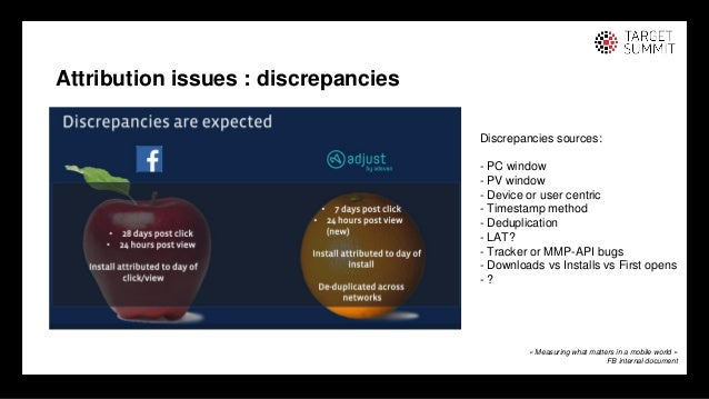 22 22 Attribution issues : discrepancies « Measuring what matters in a mobile world » FB internal document Discrepancies s...
