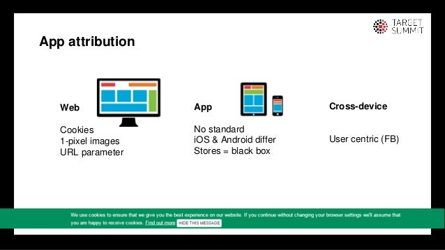 5 5 App attribution Web Cookies 1-pixel images URL parameter App No standard iOS & Android differ Stores = black box Cross...
