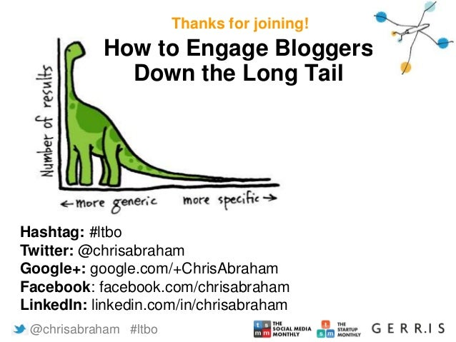 Thanks for joining!  How to Engage Bloggers  Down the Long Tail  Hashtag: #ltbo  Twitter: @chrisabraham  Google+: google.c...