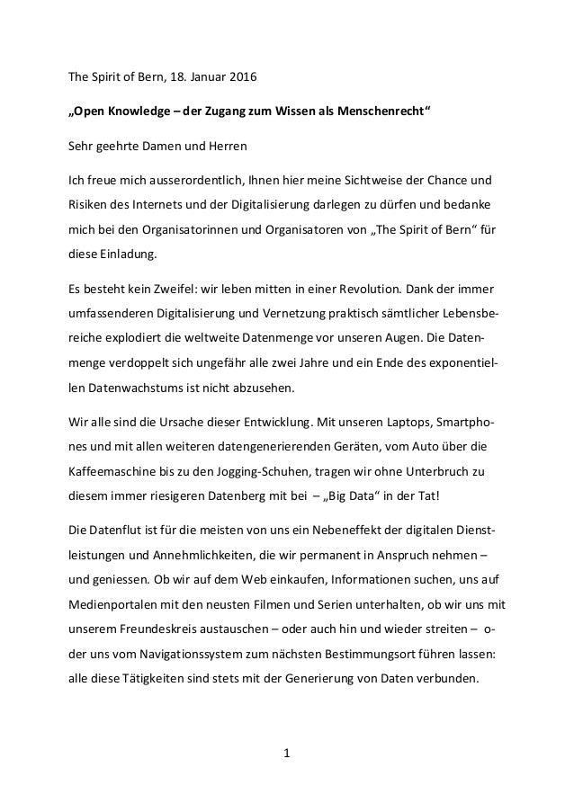 """1 The Spirit of Bern, 18. Januar 2016 """"Open Knowledge – der Zugang zum Wissen als Menschenrecht"""" Sehr geehrte Damen und He..."""