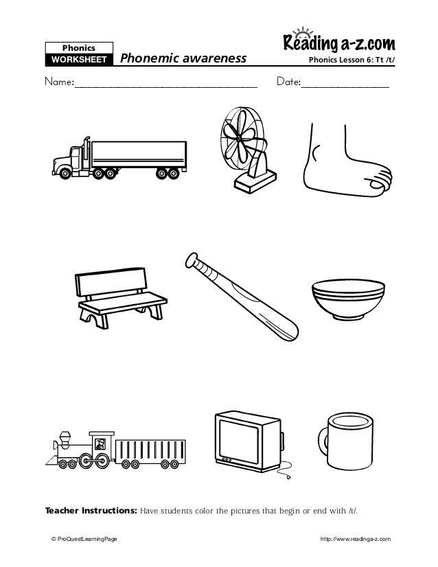 T Sound Worksheet for Kindergarten - 1st Grade | Lesson Planet