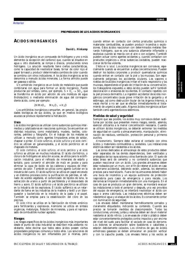 PROPIEDADES DE LOS ACIDOS INORGANICOS · ACIDOS INORGANICOS David L. Hinkamp Un ácido inorgánico es un compuesto de hidróge...